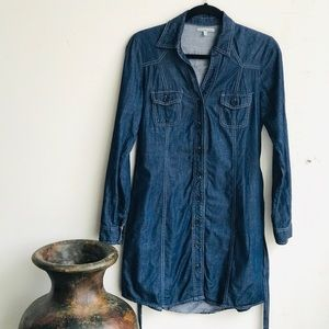Charlotte Russe Denim Chambray Front Button Dress